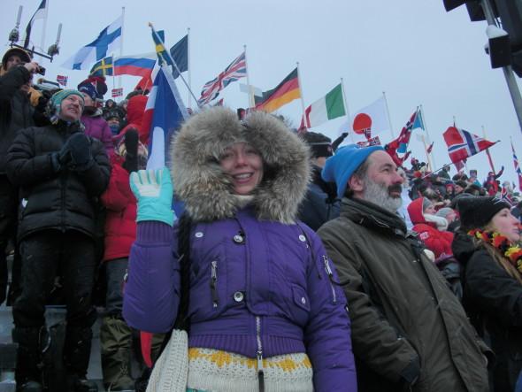 На трибуне лыжного стадиона в Холменколене