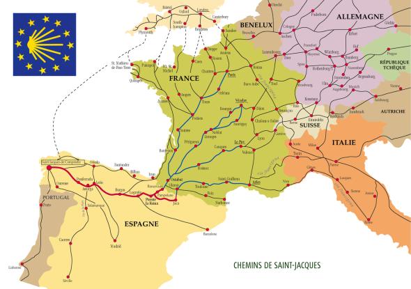 Карта маршрутов пути Святого Иакова