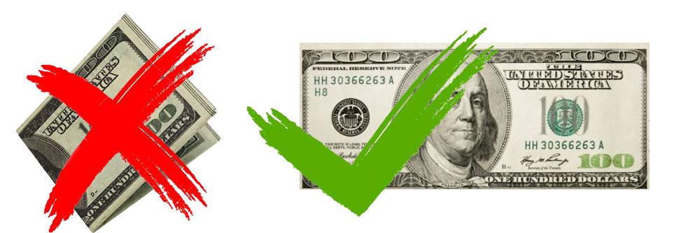 В Мьянме сложенные доллары не принимают. Только новые и гладкие, без заломов.