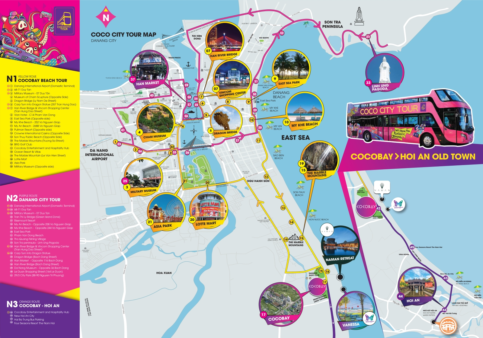 Карта маршрутов автобусов Hop on Hop off в Дананге